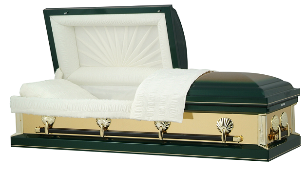 Casket: Hunter Green with Gold Mirrors Casket