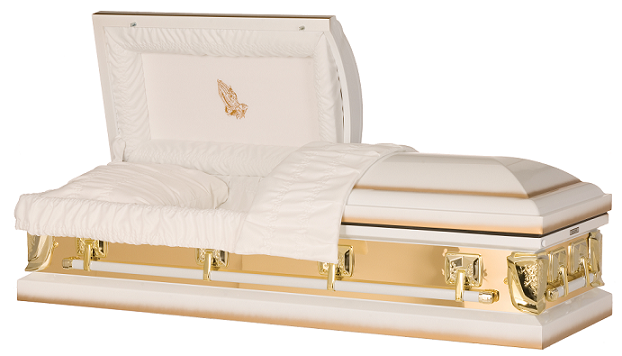 Casket: Golden Sunlight with Praying Hands Casket