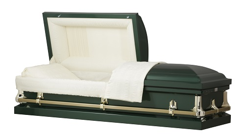 Casket: American Hunter Green Steel Casket