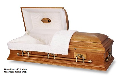 Casket: A - Praying Hands 31 inch Solid Oak