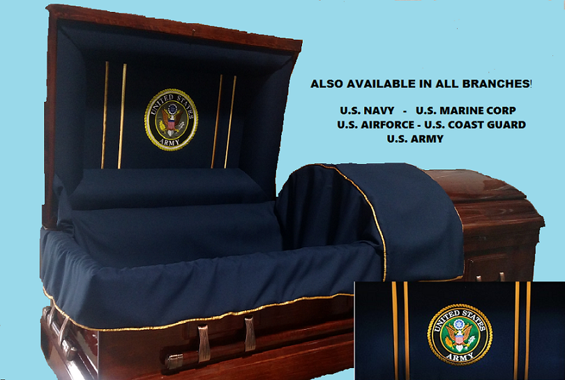 Picture of Veterans Honor & Tribute - Solid Poplar Wood Casket