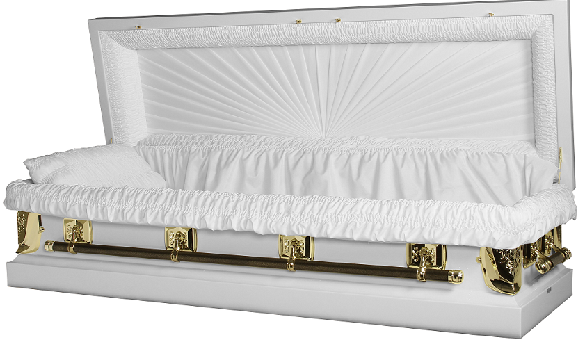 Picture of Regal White/Gold Full Couch Casket with Gasket/Lock Casket