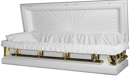 Casket: Regal White/Gold Full Couch Casket with Gasket/Lock