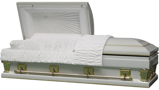 Casket: Franklin White Oversize - interior in either 27.5 in or 30.5 in size
