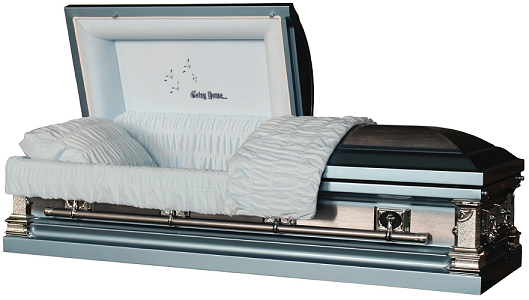 Casket: Going Home Sky Blue Metal Casket
