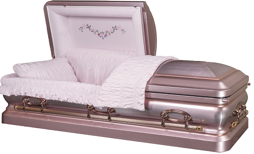 Casket: ROYALE PLATINUM LILAC with Copper Brush Steel Casket