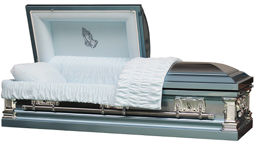 Casket: Traditional Praying Hands Blue & Silver Casket