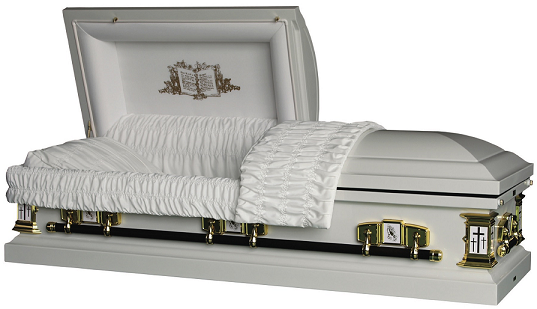 Casket: Open Bible - Praying Hands - Calvary Crosses Metal Casket